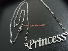 Silver Stainless Steel Princess Name Necklace Pendant For Women Holiday Gifts