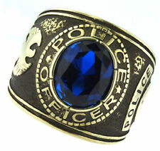 POLICE OFFICER BLUE STONE GOLD SS RING SIZE 7 8 9 10 11 12 13 14