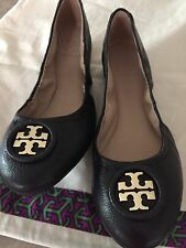 TORY BURCH WOMANS SHOES  ALLIE BALLET NEW SIZE 7  Black New / Gold Logo.