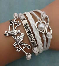 NEW Infinity Love Pigeon Heart Pearl Leather Charm Bracelet plated Silver 4D