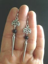 Earrings Silver Black Onyx Hippie Punk Spike Boho Gypsy Tribal  Bohemian