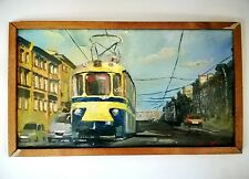 "The picture ""The Tram"", oil painting, Russia, 6.1 X 10.6 inch"