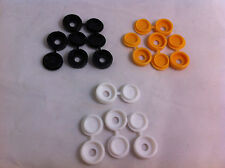 Confezione da 12 in PLASTICA NYLON Hinged Screw COVER CAPS FLIP TOP BIANCO NERO GIALLO