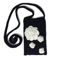 "Crochet Iphone Bag with Crossbody Strap. Mobile Phone Pouch 7"" with White Roses"
