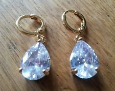 G03 LARGE white pear drop sapphire 18k gold gf hoop+dangle earrings BOXD Plum UK