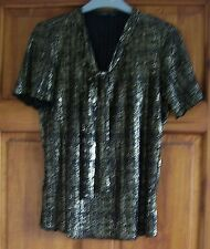 Ladies top size 10 - 12 approx black gold crinkle top short sleeves party top