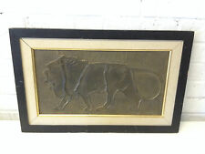 Vintage Antique Art Deco Bronze Bas Relief Lion Framed Plaque Art