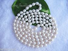 "47"" 120cm AAA Long 8mm White Tear Drop Real Freshwater Pearl Chain Necklace"