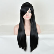 Fashion Realistic Women 23 Inch Black Long Natural Straight Remy Hair Wigs Wig