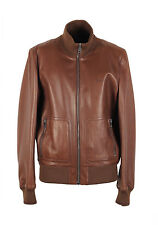 New Gucci Brown Nappa Leather Bomber Jacket Coat Size 54 / 44R U.S. jacket - ...
