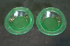 Green Glass Horseshoe Candy Dish Set Of 2 Decorative Collectible Bowls