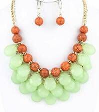 MINT AND CORAL FACETED LUCITE DROP GOLD TONE LINK BUBBLE BAUBLE NECKLACE EARRING