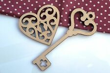 WOODEN HEART LOCK AND KEY SHAPES (4.25 x 4cm) - UNPAINTED - 5 Pack
