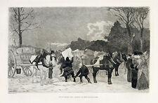 """August Lancon original etching """"Enlevement des glaces au Bois de Boulogne"""""""