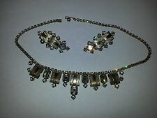 1930's Rhinestone necklace & earring set art deco goldtone
