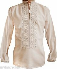 Handmade Embroidered Shirt Mens White Long Sleeve Cloth Cotton Light Machinery