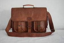 "16x12"" Real Brown Leather DSLR Camera Bag Padded Macbook Briefcase Satchel"