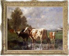 Old Master-Art Antique Oil Painting Wildlife animal Portrait cow on canvas