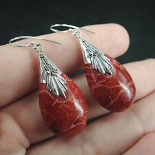 MEDIUM SIZE TEARDROP SHAPED RED CORAL & 925 STERLING SILVER EARRINGS