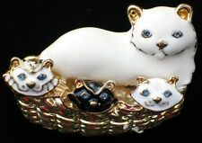 GOLD TONE BLACK WHITE ENAMEL BLUE EYE CAT KITTY KITTEN FAMILY PIN BROOCH MOVABLE