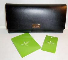 KATE SPADE ARBOUR HILL PIM FLAP FRONT SMOOTH BLACK AND PEBBLE LEATHER  WALLET