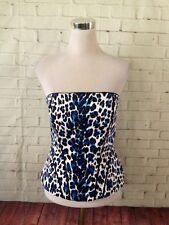 White House Black Market Blue Leopard Corset Bustier-8 NEW WITH TAGS! $88