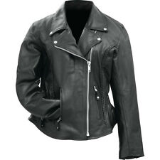 Rocky Mountain Hides Ladies' Solid Genuine Buffalo Leather Motorcycle Jacket