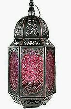 Bronze Red Glass Moroccan Lantern Style Ceiling Electrical Table Lamp NEW