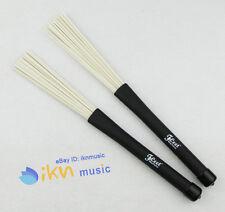 Pair of Jazz Drum Brushes Black Rubber Handle with White Nylon Drum Brush M351