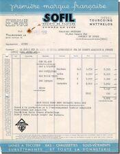 Facture SOFIL societé de filature à Tourcoing 1954
