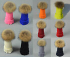Paternity Child Baby/Women Winter Knit Beanie Raccoon Fur Pom Bobble Hat Ski Cap