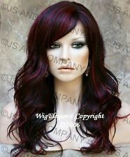 Glamorous Long Natural Wavy Wig Black with Burgundy Mix Full Bangs JSPP 1B-Burg