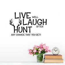 LIVE LAUGH HUNT Quote Wall Sticker Inspirational Saying Vinyl Wall Decal