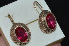 VINTAGE Russian Soviet USSR Earrings Sterling SILVER 875 OLD RARE gold plated !