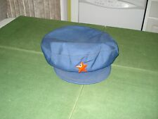 *****RED CHINA WORKER'S HAT WITH STAR ON CROWN, MADE BY SWAN, GOOD SHAPE***