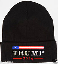 DONALD TRUMP 2016 EMBROIDERED AMERICAN  FLAG BEANIE CAP HAT BLACK