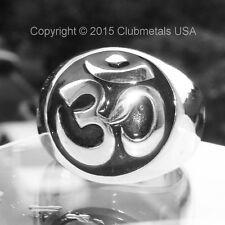 Huge Monster Sterling Silver Men's Sanskrit Om Mantra Ring India Yoga Hindu