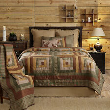TALLMADGE King Quilt Patchwork Plaid Rustic Country Log Cabin Green/Tan/Brown