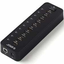 ORICO P10 High Speed 10 Port USB 2.0 Hub with 12V Power Adapter for Windows Mac
