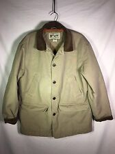 LL Bean Classic Barn Coat Men's Size L Beige Field Jacket Thinsulate Lined Nice!