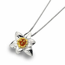 Celtic Lands Sterling Silver 925 Daffodil Flower Pendant Necklace in Gift Box