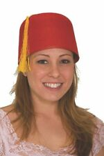RED FELT FEZ TURKISH ARMY MILITARY SHRINER MOROCCAN COSTUME HAT YELLOW TASSLE