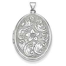 14k White Gold 32mm Oval Flower With Scrolls Locket