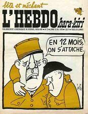 """""""L'HEBDO HARA-KIRI N°72 du 15/6/1970"""" Gébé : EN 12 MOIS ON S'ATTACHE"""
