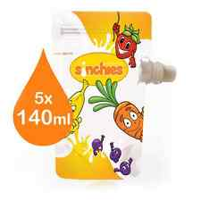 New Sinchies FUN Food Pouches Reusable Package BPA Free Infant Baby 140ml 5 Pack