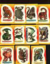 1988 Topps Dinosaurs Attack! All 11 stickers Near Mint