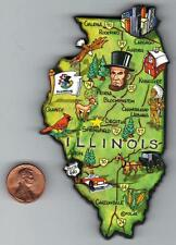ARTWOOD ILLINOIS  IL JUMBO STATE MAP MAGNET SPRINGFIELD CHICAGO ROCKFORD QUINCY