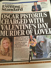 OSCAR PISTORIUS ON THE COVER LONDON EVENING STANDARD 14 FEB 2013 LOUISE MENSCH