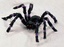 Giant 2 Foot Purple/Black Hairy Spider Huge Halloween Haunt Prop Decoration