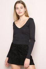 NEW!  brandy melville black cropped long sleeve v-neck Jersey blake top NWT S/M